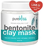 Pure Bliss Bentonite Clay ★ Powerful Indian Healing Clay Facial Mask for Acne, Deep Cleansing of Skin, Pore Minimizer and Anti-aging - 1 Pound