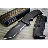 Tac-force Black Sawback Tanto Point Spring Assisted Open Tactical Pocket Knife