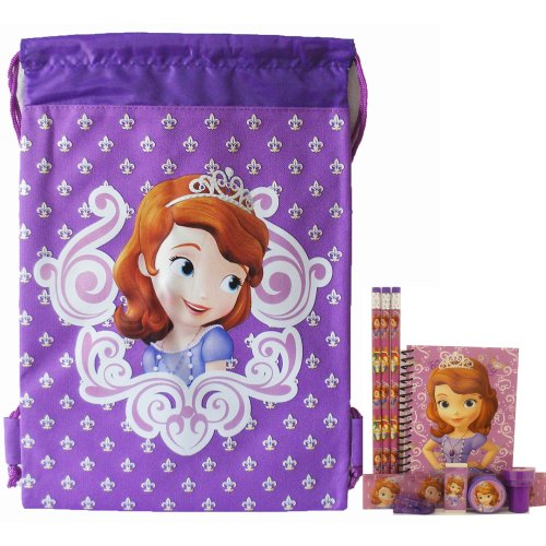 Disney Princess Sofia Purple Drawstring Bag and Stationery Set - 1