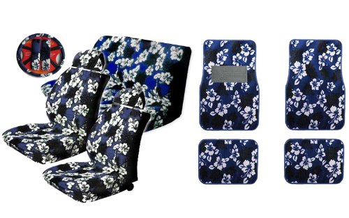A Set of 15-piece Blue Hawaiian Hibiscus Floral Aloha Print Auto Interior Gift Set - 2 Hawaii Aloha Low Back Front Bucket Seat Covers, 2 Hawaii Aloha Separate Headrest Covers, 2-piece Hawaii Aloha Bench Covers, 1 Hawaii Aloha Steering Wheel Covers, 2 Hawaii Aloha Shoulder Pads and 4 Hawaii Aloha Carpet Floor Mats for Cars / Truck