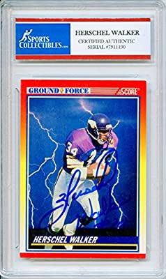Herschel Walker Autographed Minnesota Vikings Encapsulated Trading Card - Certified Authentic