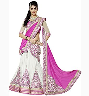 Siddeshwary Fab Pink And Off White Net Embroidered Self
