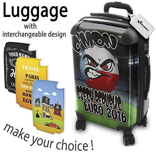 Euro 2016 C mon Czech Republic, Luggage Valigia Bagaglio Ultraleggero Trasportabile Rigido con 4 Route e Disegno Intercambiabile. Dimensione: Formato Cabina S