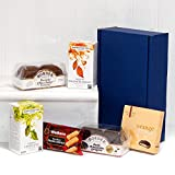 Brew in a Box - Blue Gift Box Hamper with English Breakfast & Green Tea, Biscuits, Shortbread & Beeches Creams