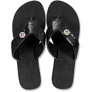 For Bare Feet Pittsburgh Steelers Women's Sequin Flip Flops at Steeler Mania