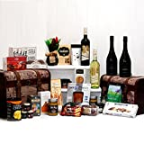 Deluxe Twin Vintage Globe Chest Christmas Hamper Set - 2 x Luxury Wooden Replica Vintage Style Chests with 25 Gourmet Food Items and 4 Bottles of Wine from Fine Food Store Gift ideas for - Mothers Day,Valentines,Presents,Birthday,Men,Him,Dad,Her,Mum,Than