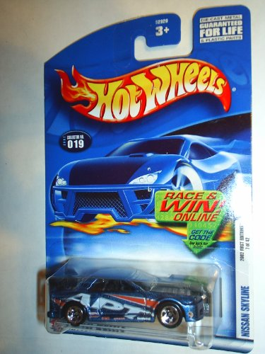 Mattel Hot Wheels 2002 1:64 Scale First Editions Blue Nissan Skyline Die Cast Car #019 - 1