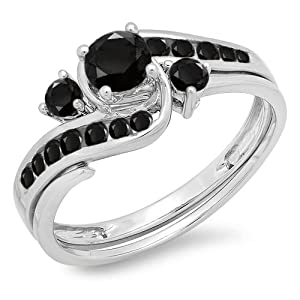0.90 Carat (ctw) 10k White Gold Round Black Diamond Ladies Swirl Bridal Engagement Ring Matching Band Set (Size 6.5)