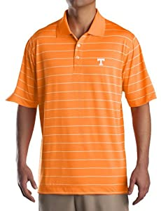 NCAA Mens Tennessee Volunteers Tennessee Orange White Drytec Sweeten Stripe Tee by Cutter & Buck
