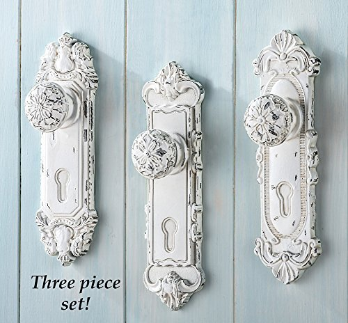 Set of 3 Shabby Chic French Country Door Knob Hand Painted Antiqued White Hanging Hooks Decor (Old School Door Knobs compare prices)