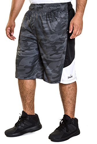 Spalding Mens Active Interlock Basketball Gym Athletic Workout Shorts With Mesh Side Panel Gravel Gray