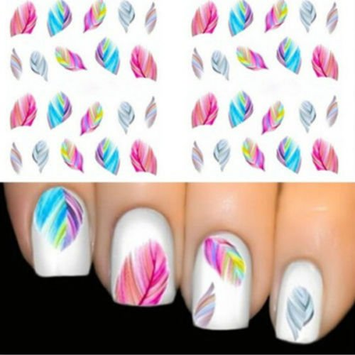 Colorful Beauty Leopard Nail Art Tips Feather Decals