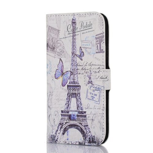 Meaci Htc One M8 Folio Case Fashion/Retro Style Postmark Paris Eiffel Towel Pattern With Kickstand Credit Card Holder Id Holder Pu Leather Material Cover Magnetic Buckle (Paris Eiffel Iii)