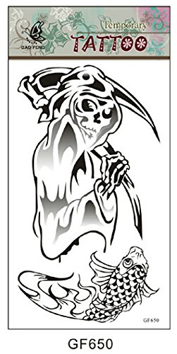 SYZ Beauty Waterproof Temporary Tattoos Thanatos Death God Tattoos