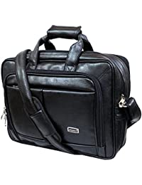 "Stylish 16"" Black Colour Expandable Faux Leather Specious Laptop Sleeve Messenger Office Bag By-Widnes"