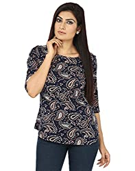 Coash Women Navy Blue Printed Top