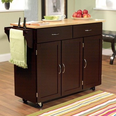 Cheap Extra Large Kitchen Cart with Wood Top in Espresso (60048ESP)