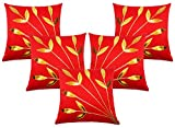 Car Vastra Leaves Patch Red Cushion Cover Set of 5 (16x16Inches)