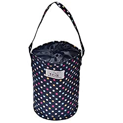 Lunch Bags, Voberry® Thermal Insulated Dot Tote Lunch Box Cooler Bag Bento Pouch Lunch Container Grocery Bags (Black)