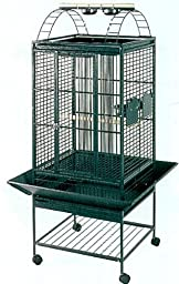 Brand New Parrot Bird Wrought Iron Cage Play-Top On Wheels L18\