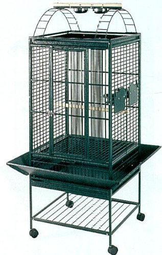 Brand New Parrot Bird Wrought Iron Cage Play-Top On Wheels L22