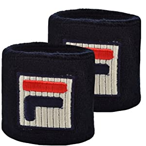 Fila Unisex Retro Cotton Tennis Sweatband Wristbands - Dark Blue - AX00199403 - NS
