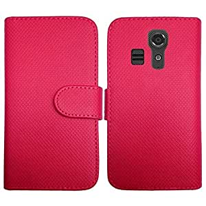 HR Wireless PU Leather Flip Wallet Credit Card Cover for Kyocera Hydro Icon - Retail Packaging - Hot Pink