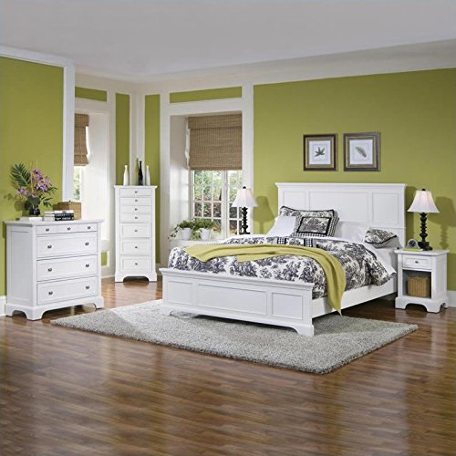 Big Save! Home Styles 5530-5014 Naples Queen Bed, Night Stand and Chest, White Finish