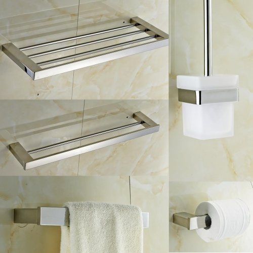Ouku® Wall Mount Contemporary Quadrate Stainless Steel 5 Piece Bathroom Accessories Set Square Shape Metal Unique Designer Home Decor Bathroom Towel Racks Lavatory Bath Shower Free Standing Towel Robe Hokes Kitchen Towel Holders Standing front-463609