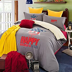 Homehug® 300 Thread-count 100% Cotton Lovely Cartoon Picture Bright Candy Color 4pc Duvet Cover Sets with Pillow Shams Full Size - 1 Year 100% Satisfaction Guarantee (Dark Grey)