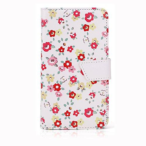 """Rot Blumen Schutz-hülle Tasche Case Cover für 4,0"""" - 4,5"""" Zoll Handy Smart Phone, kompatibel mit Samsung Galaxy S4 I9505, Samsung GALAXY S3 i9300, Samsung Galaxy G3500, NOKIA LUMIA 625, Nokia Lumia 720, Nokia Lumia Icon, SONY ERICSSON XPERIA T LT30P, LG OPTIMUS TRUE HD LTE P936, LG E975 Optimus G, LG PRADA PHONE P940, HTC Evo 3d Smartphone, ARCHOS 45 Helium 4G, ARCHOS 45 Titanium, CUBOT GT72 Smartphone, CUBOT ONE 4.7"""" IPS 720P HD 3G Smartphone, ZTE Blade G (11,4 cm) 4,5 Zoll"""