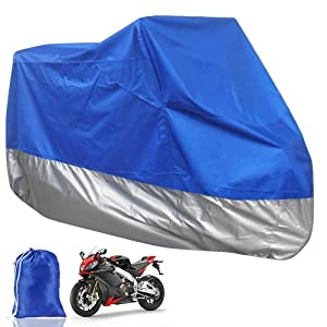 XL Motorcycle Motorbike Water Resistent Waterproof Dustproof Rain UV Protective Breathable Cover Outdoor Indoor Blue/Silver Extra Larger + storage Carry bag