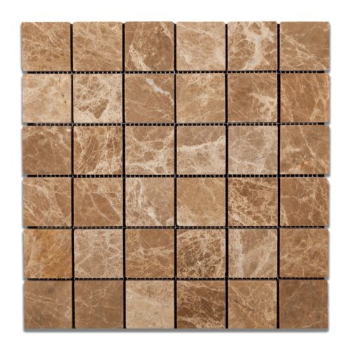 Emperador Light (Cedar) Marble 2 X 2 Tumbled Mosaic Tile - 6