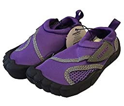 Little Kids Toddler Aquatic Water Shoes with Velcro Closure (US Toddler 5M, Purple)