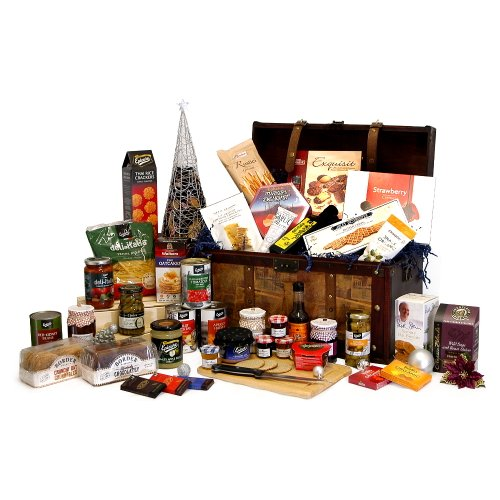 'Grand Celebration Hamper' Large Vintage Christmas Chest Hamper with 40 Gourmet Food Items - 18th 21st 30th 40th 50th 60th 70th 80th 90th 100th Birthday Retirement Wedding Anniversary Engagement Gifts Presents Corporate Christmas Hampers for Her Him Men W