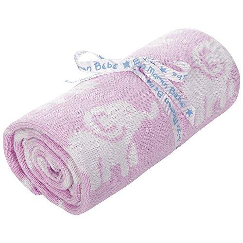 JoJo Maman Bebe Elephant Knitted Blanket, Pink