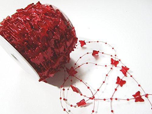 60m rouleau guirlande de perles et de papillons: Rouge