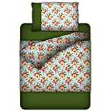 Bianca Rose Garden Cotton Single Bedsheet With 1 Pillow Cover - Light Blue And Forest Green