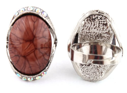 Ladies Silver with Brown Oval Abstract Pattern Center with Surrounding Clear AB Stones Metal Adjustable Finger Ring