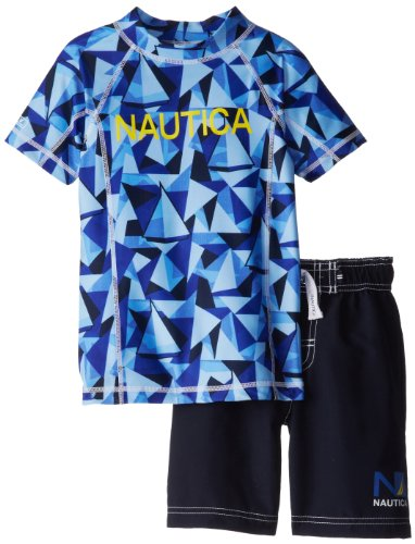 Nautica Little Boys' Shared Rashguard Swim Set, Sport Navy, Medium