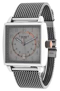 Hugo Boss - 1512143 - Orange - Montre Homme - Quartz Analogique - Cadran Gris - Bracelet Acier Gris