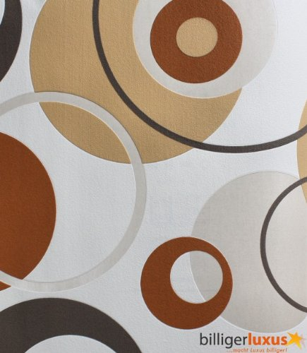 Retro Tapete Orange Braun : Tapete CONFETTI Vliestapete 03966-30 Retro Kreise beige braun