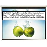 Inlight Wall Type Pull Down Spring Action Projector Screen, Size: - 7 Ft. X 5 Ft. (In Imported High Gain Fabric...