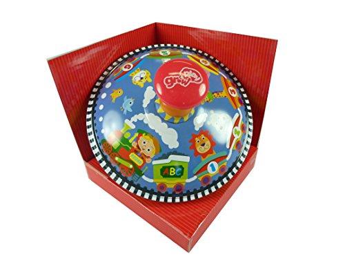Brummkreisel, Kreisel aus Blech mit Zug, Tieren und Zahlen als Motiv, 15 cm Groß