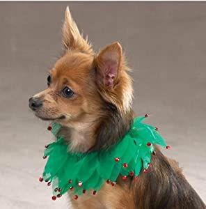 Dog Holiday Scrunchy Collar - Holiday Sparkle Scrunchy Dog Christmas Collar (Pet Holiday Costume) - Small