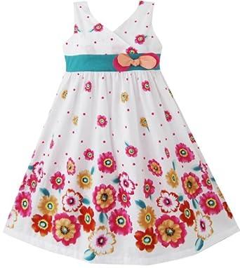 Sunny Fashion Robe Fille Rose Jaune Tournesol Imprimer Arc Attacher 2 ans