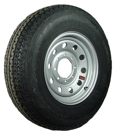 bolt circle 14 White Mod Trailer Wheel with Bias ST205//75D14 Tire Mounted 5x4.5