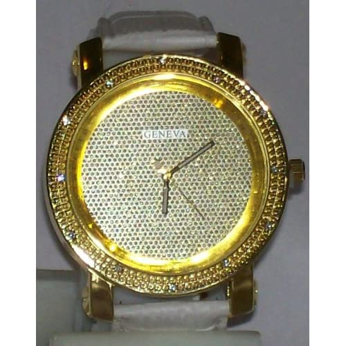 Mens Gold Plated Icey Face Hip Hop Streetwear Watch W/White Leather