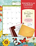 Orange Circle Studio 2014 Pockets Plus Wall Calendar, Butterflies and Birds (16024)