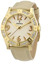 Festina Ladies Quartz Watch with Beige Dial Analogue Display and Beige Leather Strap F16580/2